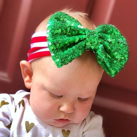 71602fe07a9b7 Christmas headband baby Christmas outfit girl Newborn 1st Christmas ...