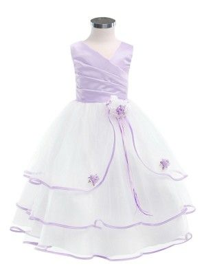 White/Lavender 3 Tier Tulle Skirt Flower Girl Dress - Flower Girl Dresses - GIRLS