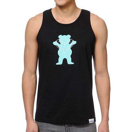 """Just plain smart that Diamond Supply collaborates with Grizzly Grip Tape for the brilliant Bear black tank top. The cotton tank has a bear/diamond graphic at the front in mint and white along with a Diamond Supply Co tag at hem. A white """"Grizzly"""" logo graces the back at the neck so you can trust your skate gear with the same people you trust your skate style with in the Diamond Supply x Grizzly Grip Tape Brilliant Bear tank top."""