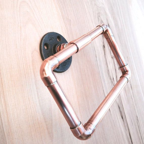 Industrial Towel Ring Copper Pipe Hand Towel Loop by MacAndLexie