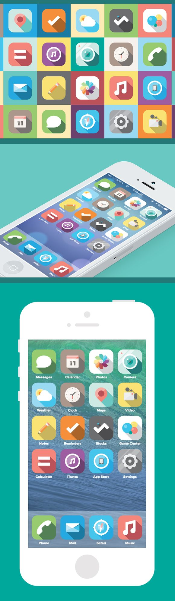 ios7 icon design / flat with heavy shadow