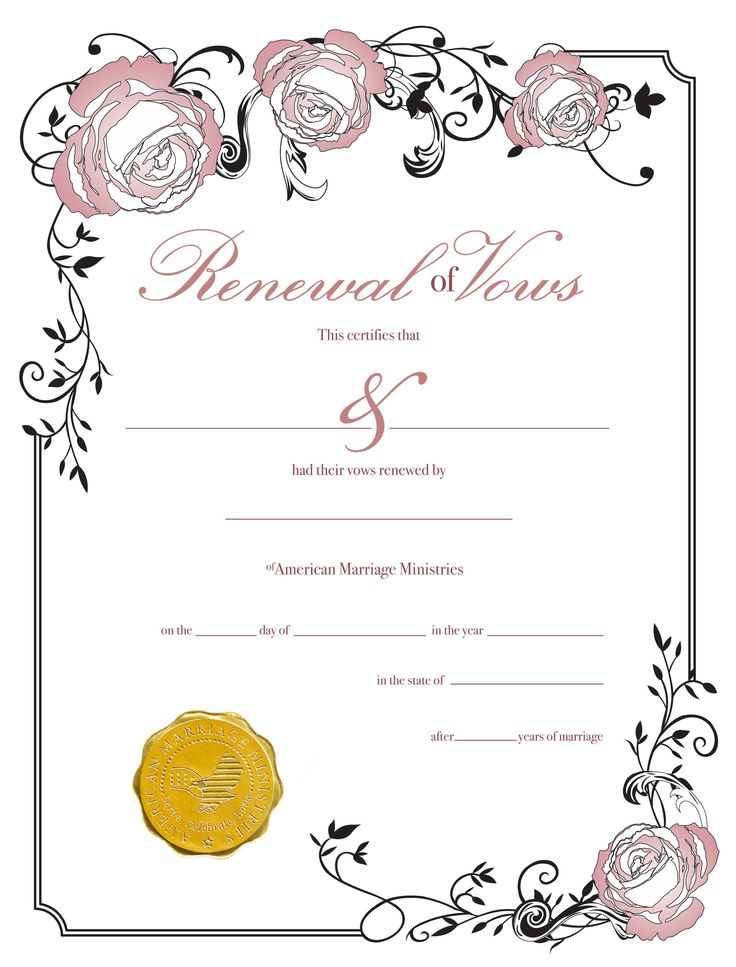 16 best Vow Renewal Certificates images on Pinterest Vow - sample marriage certificate