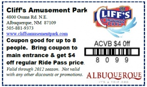 $4 off at Cliff's Amusement Park through September 2012