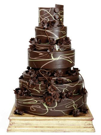 Brown Swirls Wedding Cake