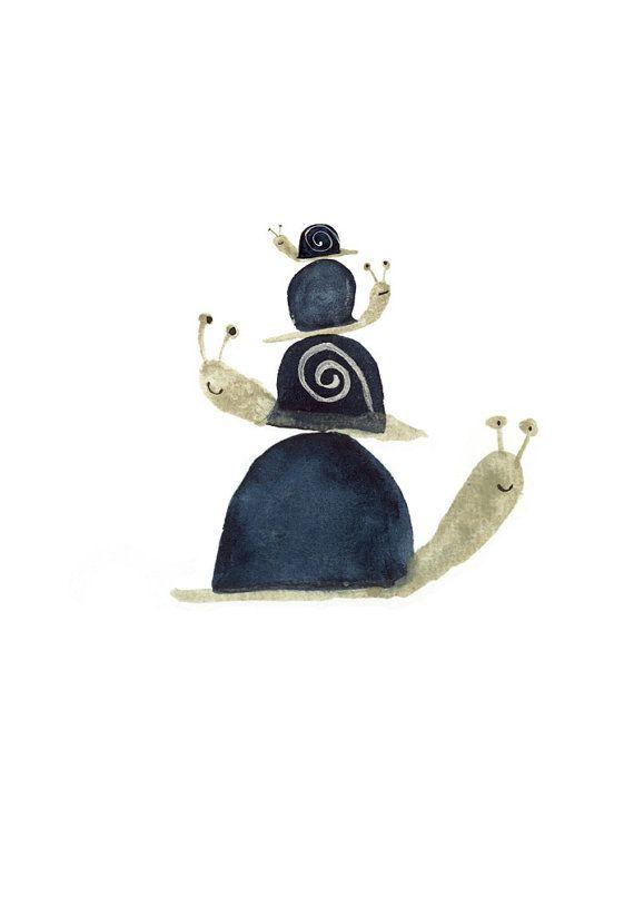 Kinder Kunst Druck Stapel von Schnecken hübsch von inmybackyard, $35.00