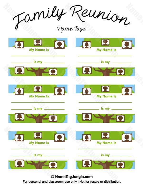 Free printable family reunion name tags with fields for your name and information on your relation