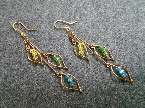 Leaves earring with crystal beads – How to make wire jewelery 230