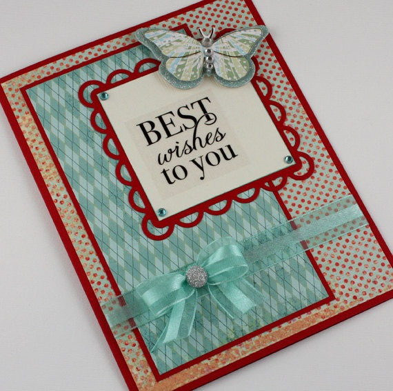 Best Wishes Card  Handmade Card  Aqua and Red  by CardsbyGayelynn, $6.00