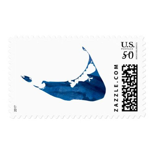 Blue Watercolor Nantucket Map Postage