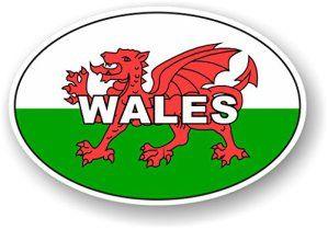 Motif ovale avec drapeau gallois Cymru Pays de Galles Sticker pour voiture moto Van 120x 80mm: Fantastique ovale motif drapeau vinyle…