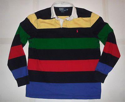 897d9b3f POLO BY RALPH LAUREN BOLD STRIPES Long Sleeve RUGBY SHIRT Custom Fit Men's L