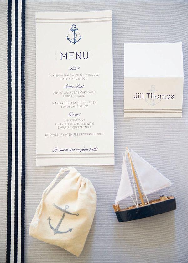 Nautical wedding stationery and menu