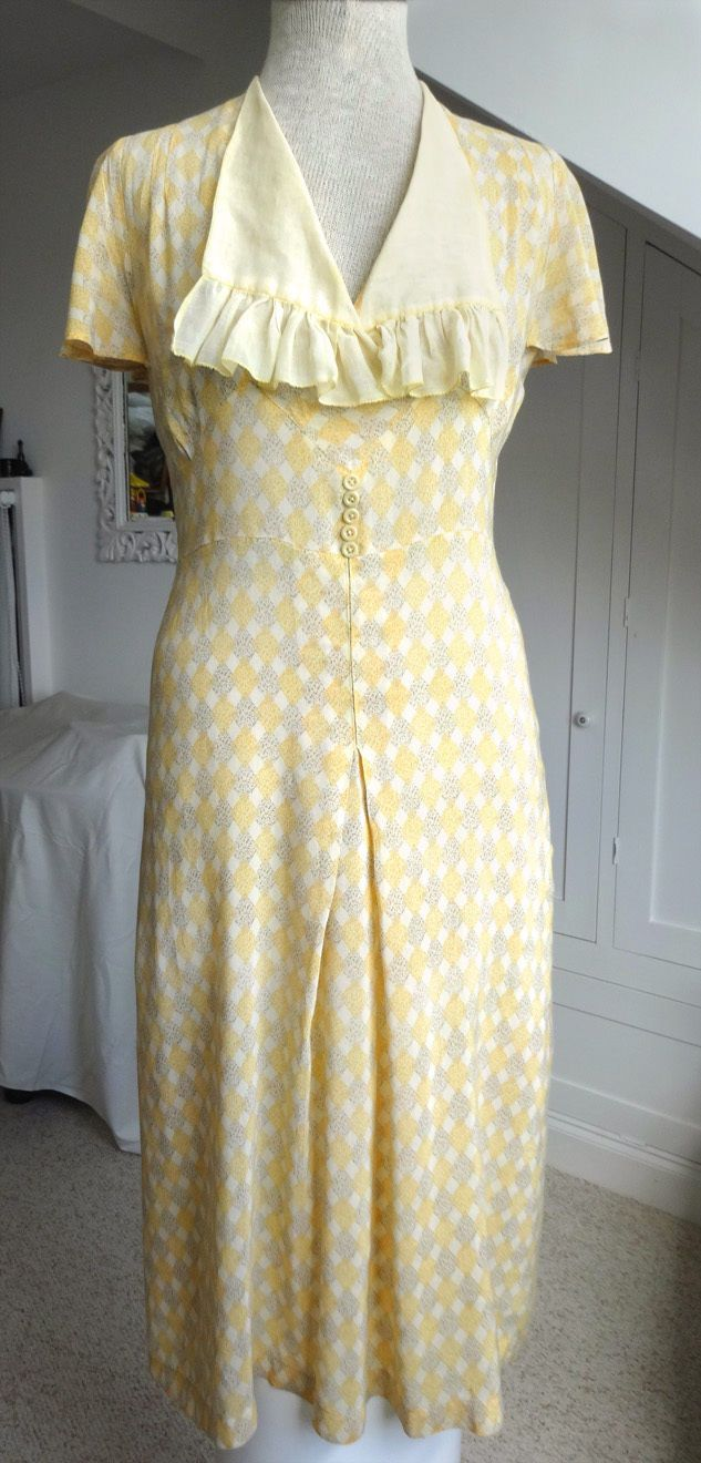 1930s Summer Dress S - Delicate cotton print - Frill collar | eBay