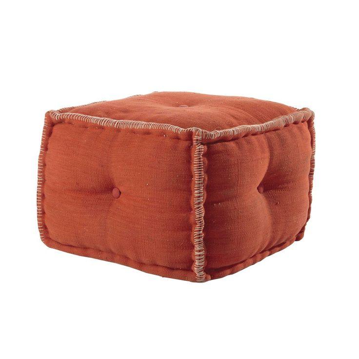 Pouf en coton orange MADRAS