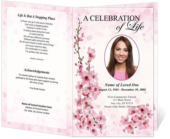 Obituary Program Bi Fold And Funeral Bulletins: Spring Design Funeral  Programs Template
