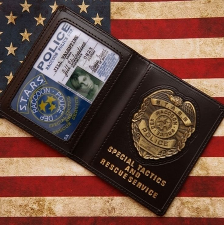 Resident Evil Stars Jill Police Metal Badge With Id Wallet Holder Case-US157