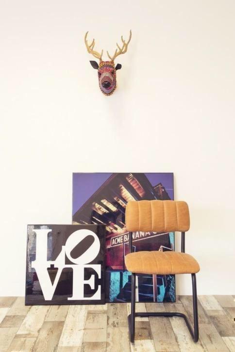 Stoel cognac vintage leer van 139€ nu 79€ Giga meubel
