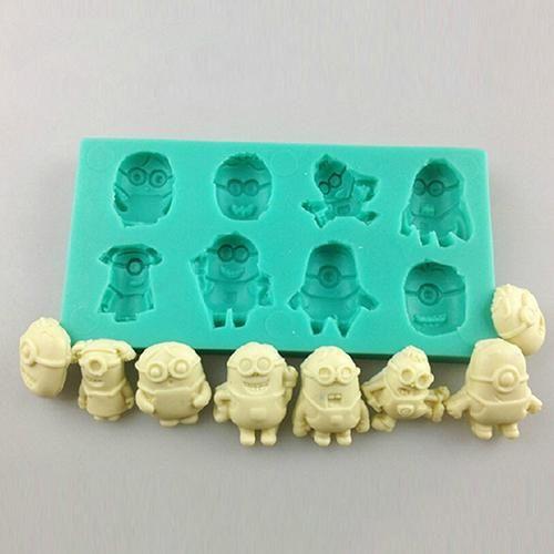 3d Minions Silicona Fondant Cake Moldes Decoración Suministros De Chocolate Para Hornear De Bricolaje Molde