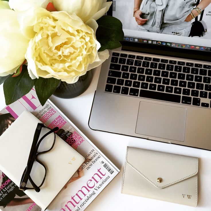 Desk Inspiration Flatlay :: leather Ivory Passport Cover & Notebook :: initial & Monogram Embossing :: Personalised Gifts