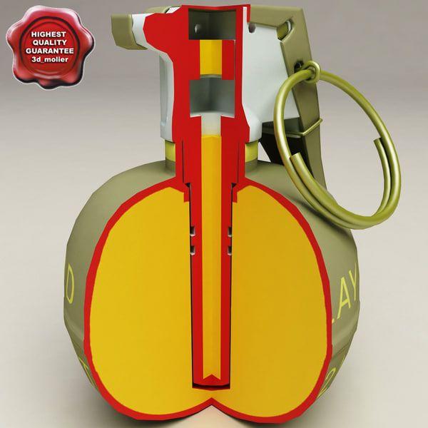 M67 Grenade Cut Away 3D Max - 3D Model