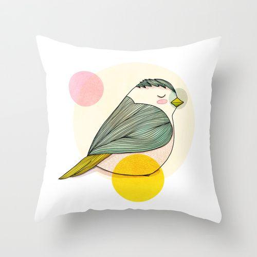 Little Bird Throw Pillow by Nan Lawson | Society6