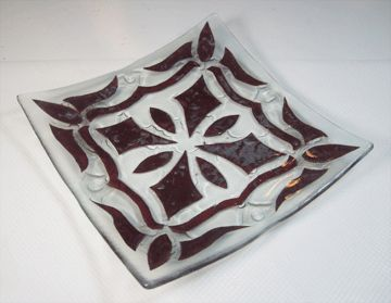 Recycled fused glass Plate with copper inclusion