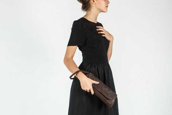Brown clutch, suede leather, SALE 20% OFF