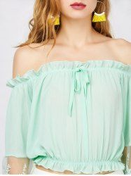 Lace Trim Off The Shoulder Chiffon Top - LIGHT GREEN XL Mobile