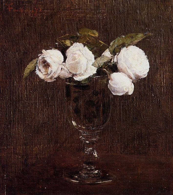 Ignace-Henri-Jean-Théodore Fantin-Latour >> florero de rosas
