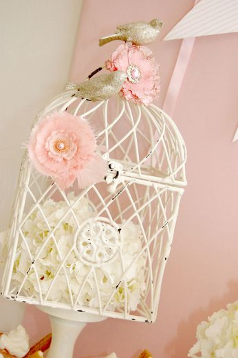 cage, hydrangeas, pink flower clips and sparkly birds.....LOVE!