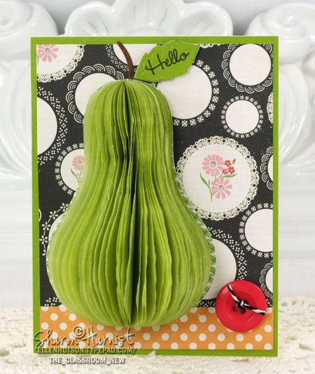 Dimensional card by Sharon Harnist - so much easier than it looks!! See how you can make it yourself. http://ellenhutson.typepad.com/the_classroom_new/2012/09/tissue-pear-by-sharon-harnist.html?utm_source=feedburner_medium=feed_campaign=Feed%3A+typepad%2Fellenhutson%2Fthe_classroom_new+%28the+CLASSroom%29