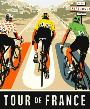 Walking along my local high street the other day this image in the window of a gallery stopped me in my tracks. Commissioned for a magazine article about the Tour de France, illustrator Bill Butche…