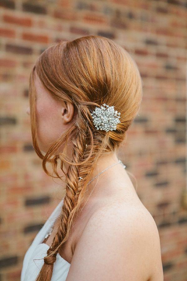 fishtail plait braid wedding bride, image by http://www.indiahobsonweddings.co.uk/
