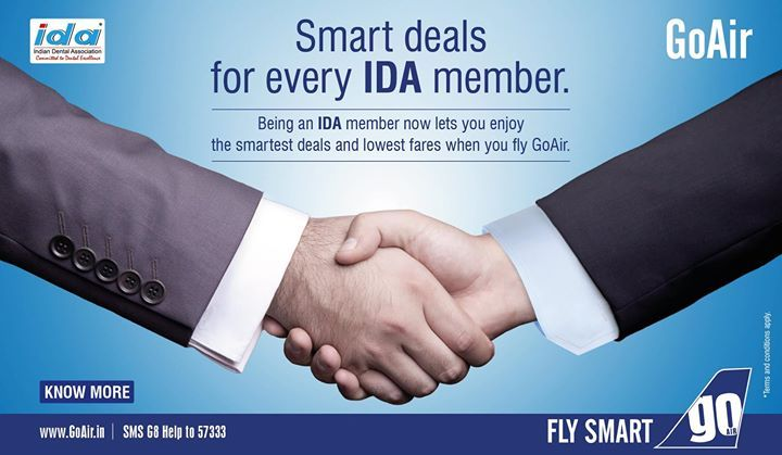 Dear IDA members avail of discount on flight tickets with #goair across 23 locations in India. For more info visit us at http://ift.tt/2iV7rGw or write us at ruby.ansari@goair.in