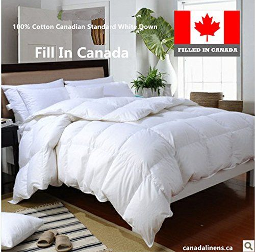 100% Cotton CANADIAN WHITE DOWN DUVET COMFORTER FILLED IN CANADA