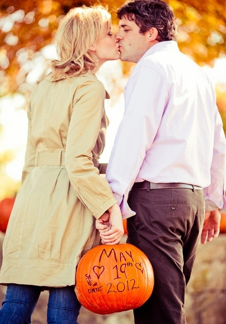 Pumpkin engagement pics/save the date!...love the pumpkin idea for a fall photo shoot or wedding!