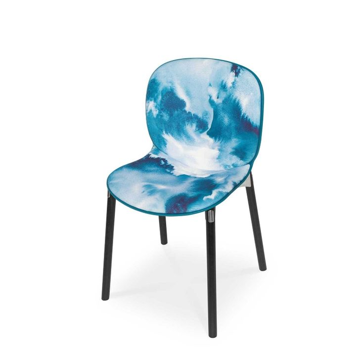 RBM Noor chair x Baltic Sea | Dark wood by Teija Vartiainen | FEATHR™    Featuring a bold and contemporary fabric by Teija Vartiainen. The luxurious textures of this unique fabric design were inspired by the shifting colours and moods of the Scandinavian Baltic Sea.  The sketch was painted with aquarelles on wet paper.