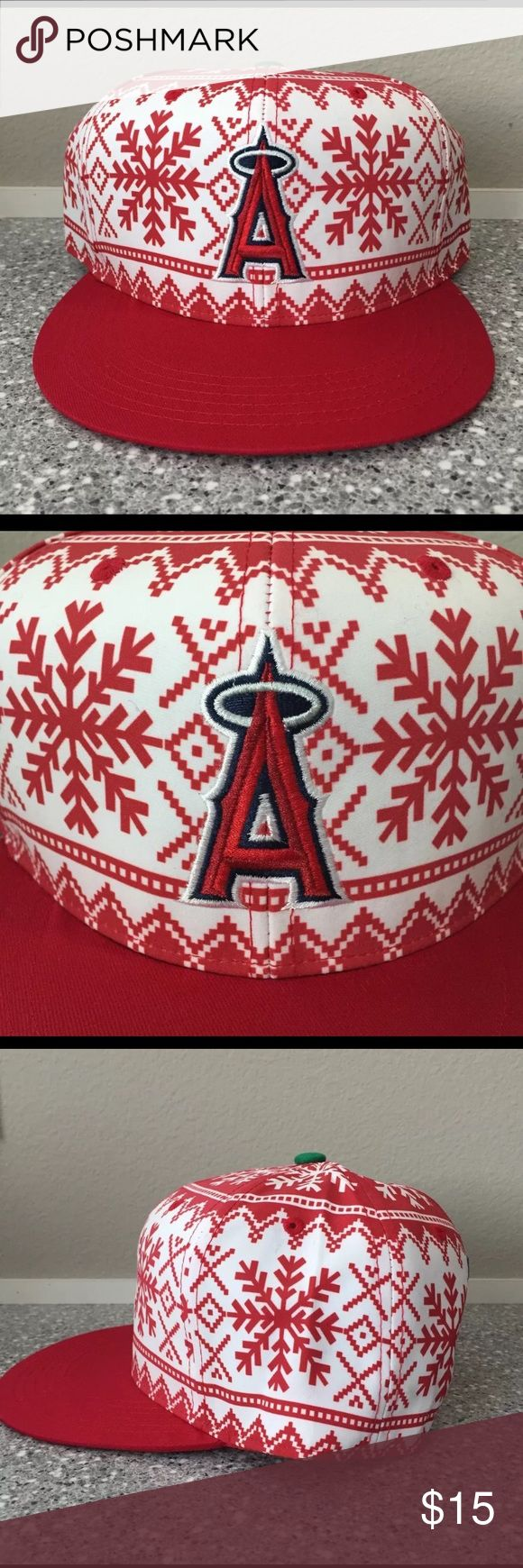 Los Angeles ANGELS Baseball hat / cap Los Angeles ANGELS baseball hat/cap. NEW, never worn. Item was a promotional giveaway. Estimated original price at $25. Red and white holiday print. Los Angeles ANGELS Baseball Accessories Hats