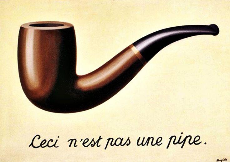Het verraad der beelden - Magritte. Woordschilderij. Geen pijp, maar voorstelling van van. Afbeelding (2D) werkt anders dan ding zelf (3D), volgt wetten van het medium (=schilderij). Beeld dekt de werkelijkheid slechts deels.