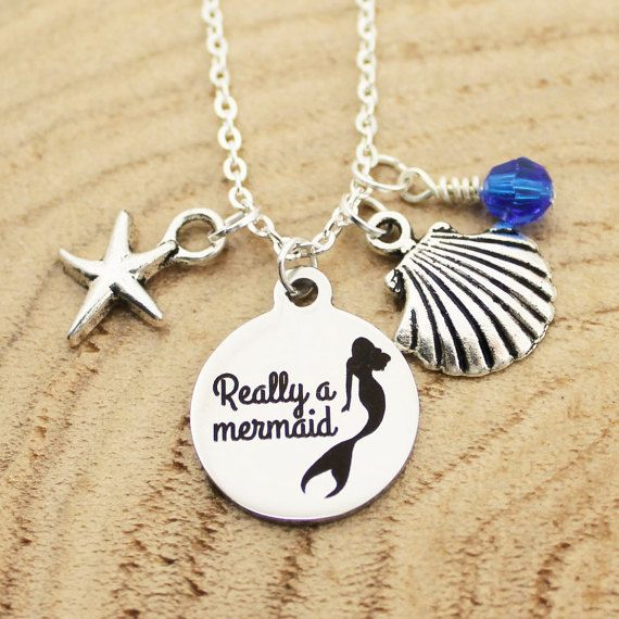 Really A Mermaid Necklace Charm Necklace by RootedInLoveCustom