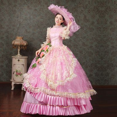 Princess Sissi Dress Inspired Royal Ball Gowns Adult Princess Fancy Dress Costume PINK