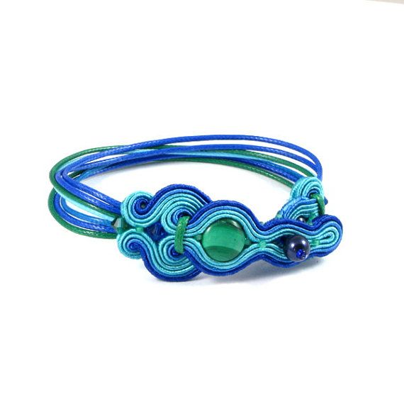 Wax cord soutache bracelet cuff, Swarovski crystal jewelry, hand embroidered jewelry summer beach jewelry handcrafted
