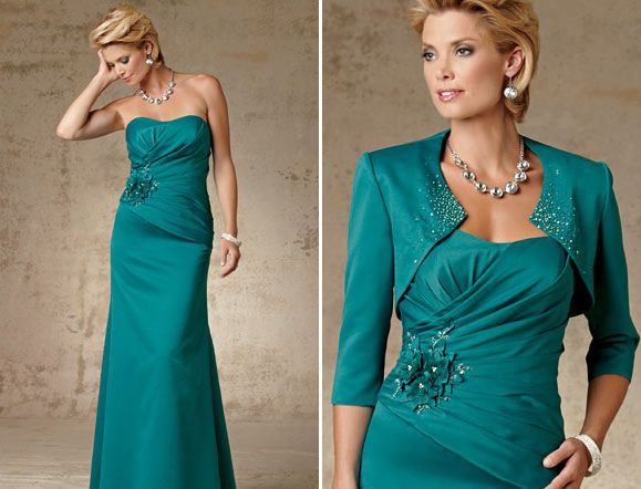 Mother of the Bride Draped Crystal Satin Gown