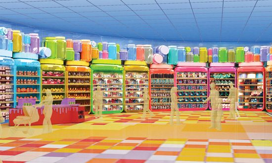 Concept art for Ink & Paint Shop at Art of Disney Animation Resort