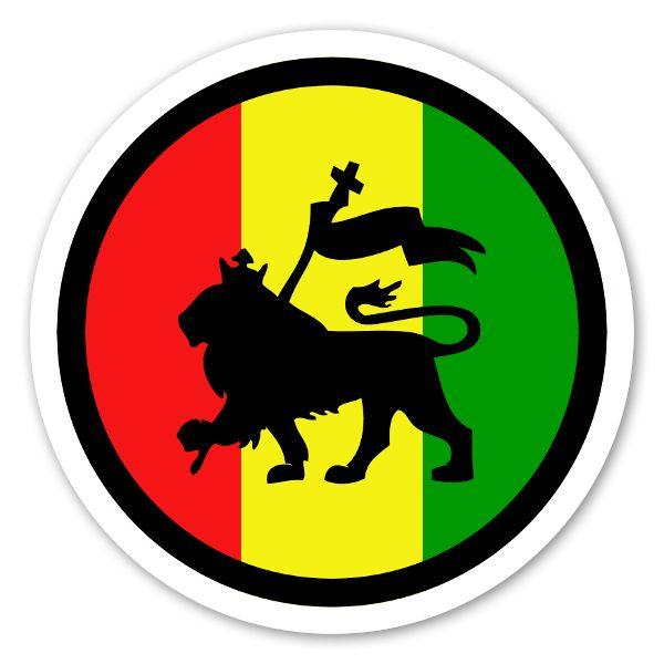 Rasta lion round sticker