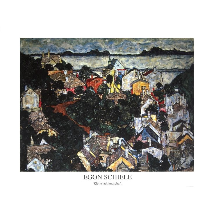 Refurbished Egon Schiele 'Small Town' Landscape Poster, 27.5 x 35.5 inches