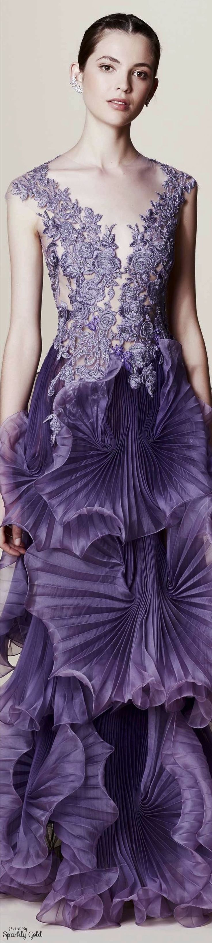 Marchesa Resort 2017 Lavender, purple, lace dress, wedding dresses, prom dress, formal wear, ballroom, ball gown, Romantic, elegant, elegance, flowers