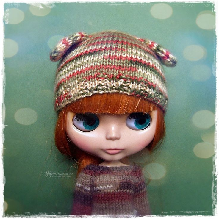 OOAK Bear Hat for Blythe, Pullip, SD, SD+ - Knitted Multicolor Green and Brown Bear Hat #89 by MPdollWorld on Etsy