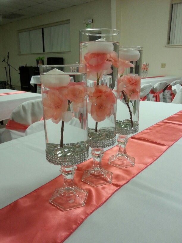 Coral centerpieces.  Sweet sixteen. Quinceanera or wedding.