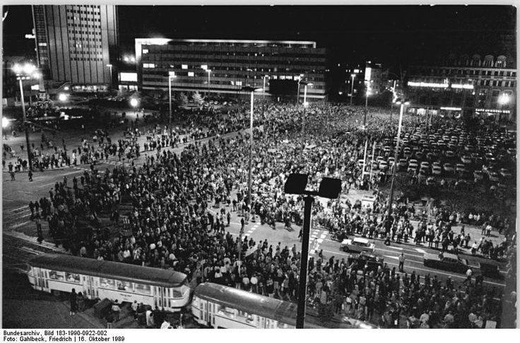 Anti government demonstrations in Leipzig, 16th October 1989.